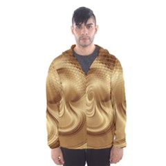 Gold Background Texture Pattern Hooded Wind Breaker (men)