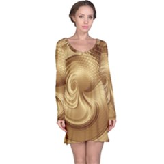 Gold Background Texture Pattern Long Sleeve Nightdress