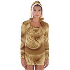 Gold Background Texture Pattern Women s Long Sleeve Hooded T-shirt
