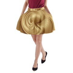 Gold Background Texture Pattern A-Line Pocket Skirt