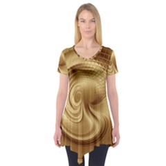 Gold Background Texture Pattern Short Sleeve Tunic