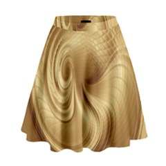 Gold Background Texture Pattern High Waist Skirt