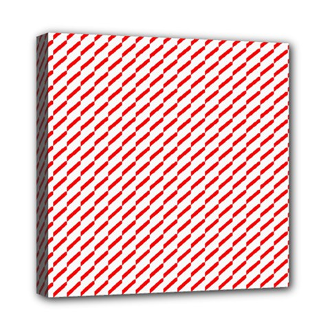Pattern Red White Background Mini Canvas 8  x 8