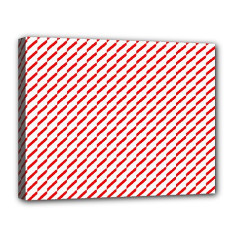 Pattern Red White Background Canvas 14  x 11