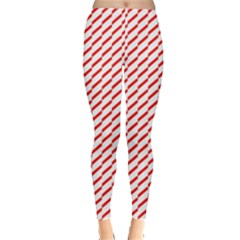 Pattern Red White Background Leggings