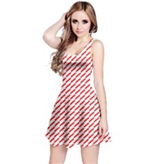 Pattern Red White Background Reversible Sleeveless Dress