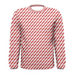 Pattern Red White Background Men s Long Sleeve Tee