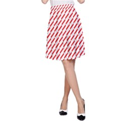 Pattern Red White Background A-Line Skirt