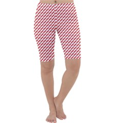 Pattern Red White Background Cropped Leggings