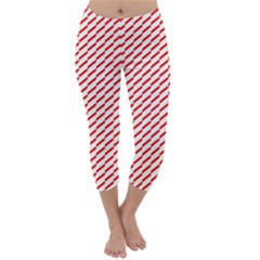Pattern Red White Background Capri Winter Leggings