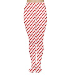 Pattern Red White Background Women s Tights