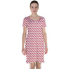 Pattern Red White Background Short Sleeve Nightdress