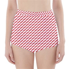 Pattern Red White Background High Waisted Bikini Bottoms