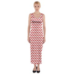 Pattern Red White Background Fitted Maxi Dress