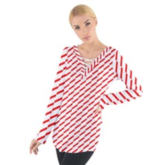 Pattern Red White Background Women s Tie Up Tee