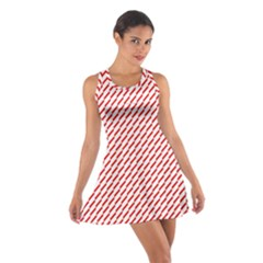 Pattern Red White Background Cotton Racerback Dress