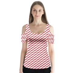 Pattern Red White Background Butterfly Sleeve Cutout Tee