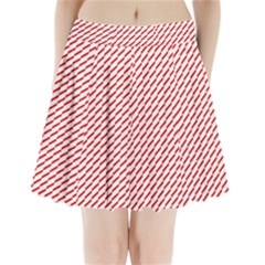 Pattern Red White Background Pleated Mini Skirt
