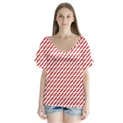 Pattern Red White Background Flutter Sleeve Top