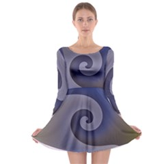 Logo Wave Design Abstract Long Sleeve Skater Dress