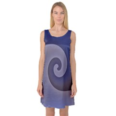 Logo Wave Design Abstract Sleeveless Satin Nightdress