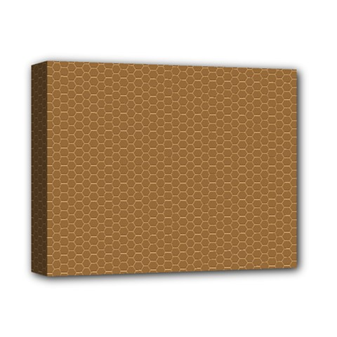Pattern Honeycomb Pattern Brown Deluxe Canvas 14  X 11