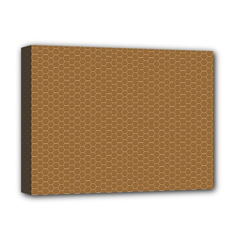 Pattern Honeycomb Pattern Brown Deluxe Canvas 16  X 12