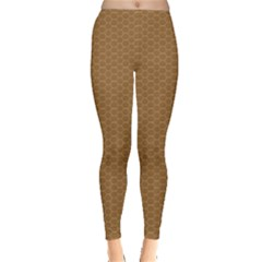 Pattern Honeycomb Pattern Brown Leggings