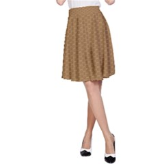 Pattern Honeycomb Pattern Brown A-Line Skirt