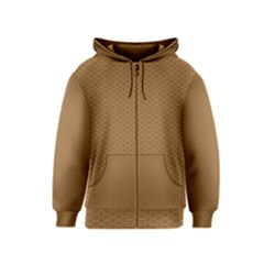 Pattern Honeycomb Pattern Brown Kids  Zipper Hoodie
