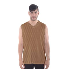 Pattern Honeycomb Pattern Brown Men s Basketball Tank Top