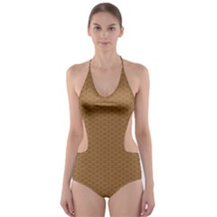 Pattern Honeycomb Pattern Brown Cut-Out One Piece Swimsuit