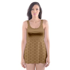Pattern Honeycomb Pattern Brown Skater Dress Swimsuit