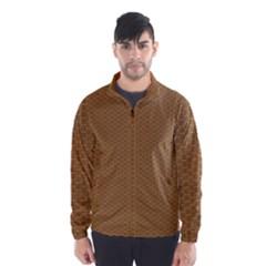 Pattern Honeycomb Pattern Brown Wind Breaker (men)