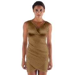 Pattern Honeycomb Pattern Brown Wrap Front Bodycon Dress