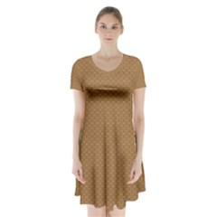 Pattern Honeycomb Pattern Brown Short Sleeve V Neck Flare Dress