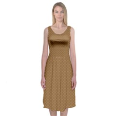 Pattern Honeycomb Pattern Brown Midi Sleeveless Dress
