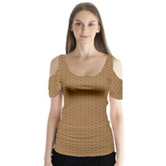 Pattern Honeycomb Pattern Brown Butterfly Sleeve Cutout Tee