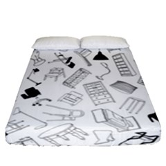 Furniture Black Decor Pattern Fitted Sheet (queen Size)