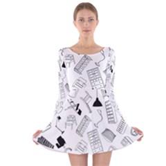 Furniture Black Decor Pattern Long Sleeve Velvet Skater Dress