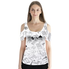 Furniture Black Decor Pattern Butterfly Sleeve Cutout Tee