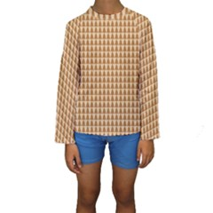 Pattern Gingerbread Brown Kids  Long Sleeve Swimwear