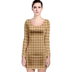 Pattern Gingerbread Brown Long Sleeve Bodycon Dress