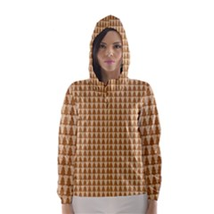 Pattern Gingerbread Brown Hooded Wind Breaker (Women)