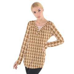 Pattern Gingerbread Brown Women s Tie Up Tee