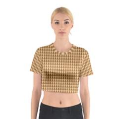 Pattern Gingerbread Brown Cotton Crop Top