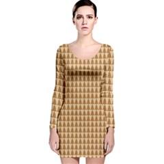 Pattern Gingerbread Brown Long Sleeve Velvet Bodycon Dress