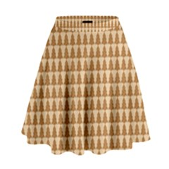 Pattern Gingerbread Brown High Waist Skirt