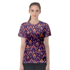Abstract Background Floral Pattern Women s Sport Mesh Tee