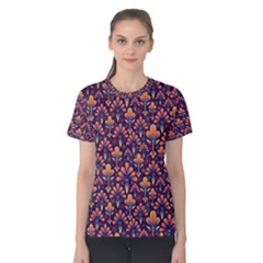 Abstract Background Floral Pattern Women s Cotton Tee